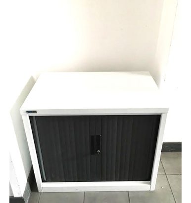 Black & White Desk High Tambour Cupboard