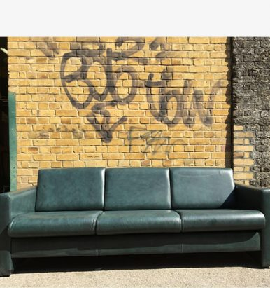 2nd Hand Green Leather Sofa