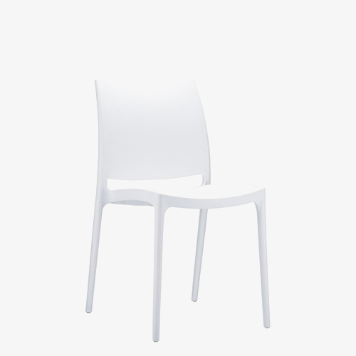 White – poly dining chairs