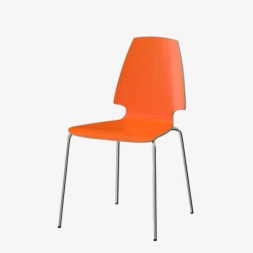 Orange stacking chairs