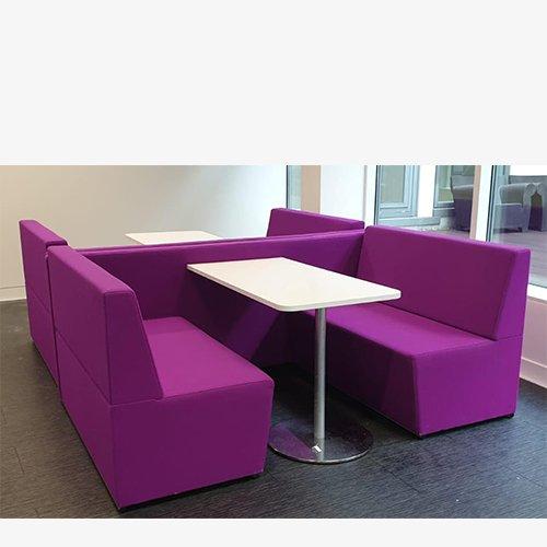 Purple booths